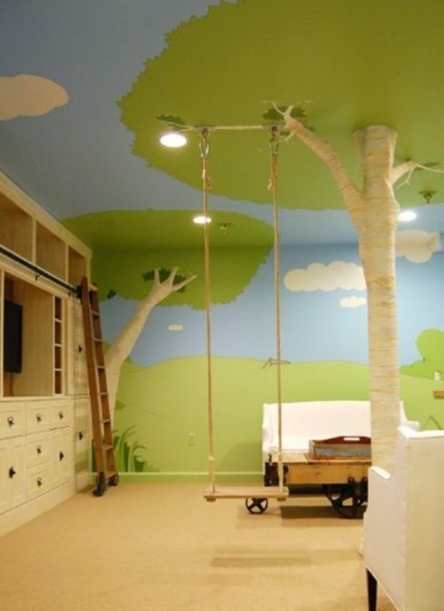 Lovely idea for a very spacious children's Bedroom.  If you haven't got the dimensions to cater for an indoor swing, the outdoors mural theme is a great surrounding in its own right.
