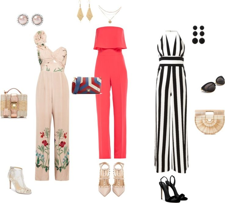 Kombinezon na eleganckie okazje, buty, dodatki i torebki koszykowe. Jumpsuit, elegant shoes.