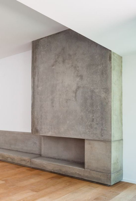 25 best concrete fireplace ideas on pinterest for Concrete mantels and hearths