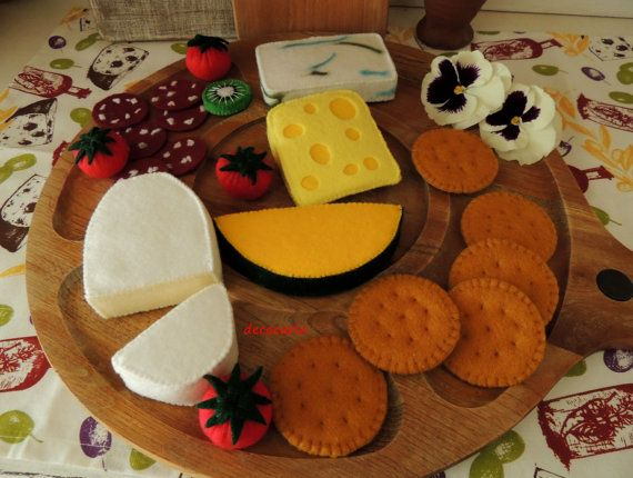 Felt Food Felt Cheeses Board pretend play food toy by decocarin
