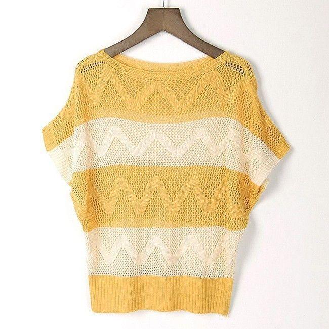 2016 Autumn dress sweater sweater hollow out wave stripe bat sleeve head short sleeves 1047