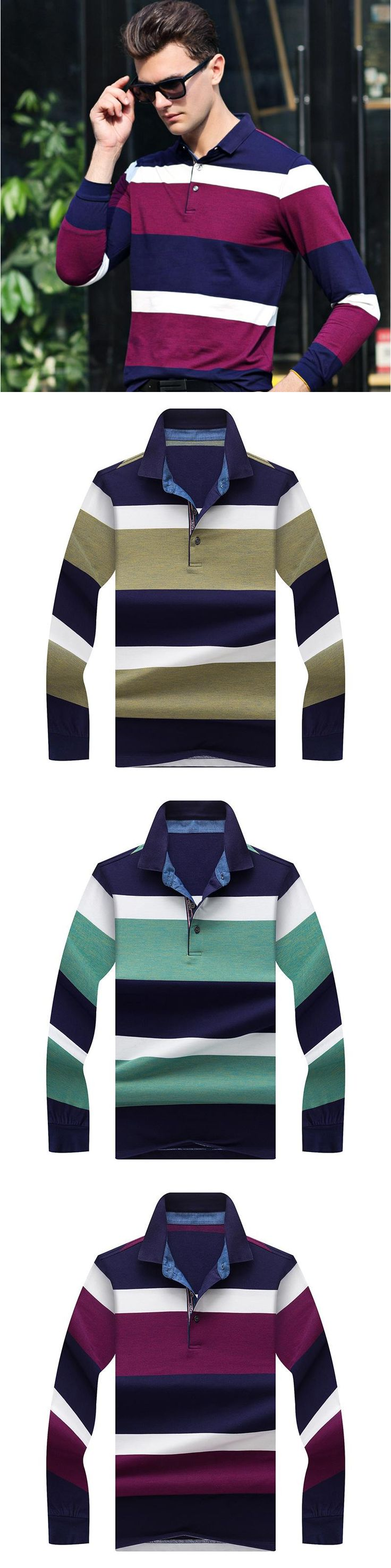 Kayphil Business Style Tops Striped Patterns Lapel Casual Cotton Long Sleeve POLO Shirt for Men