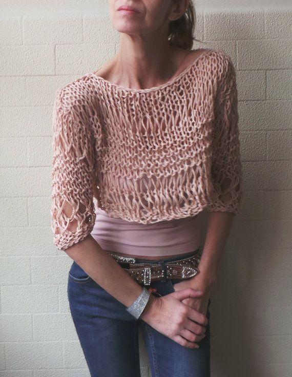 Leche suéter rosa de lino / algodón / recortada pulgar grunge suéter del agujero / la última en su sombra