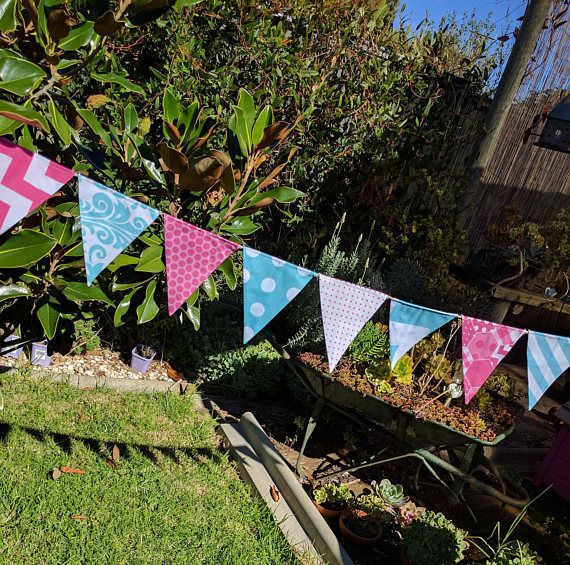 Aqua and pink  bunting  Handmade bunting flags or banner for