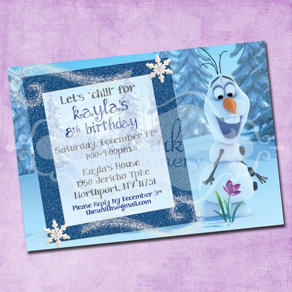 Cute invite with Olaf