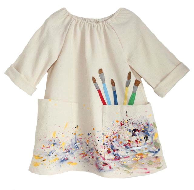 Lindsey Berns #kids Canvas Artist Smock Dress