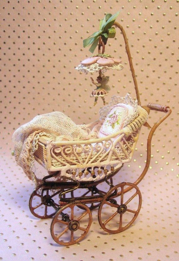 Antique style baby buggy with Fairy #Miniature