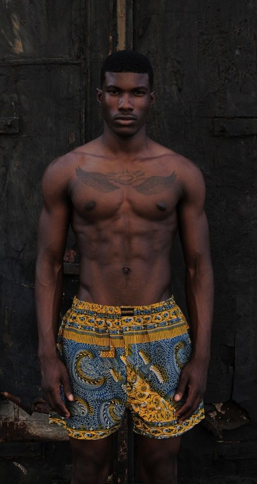 African Men's fashion & style short en wax