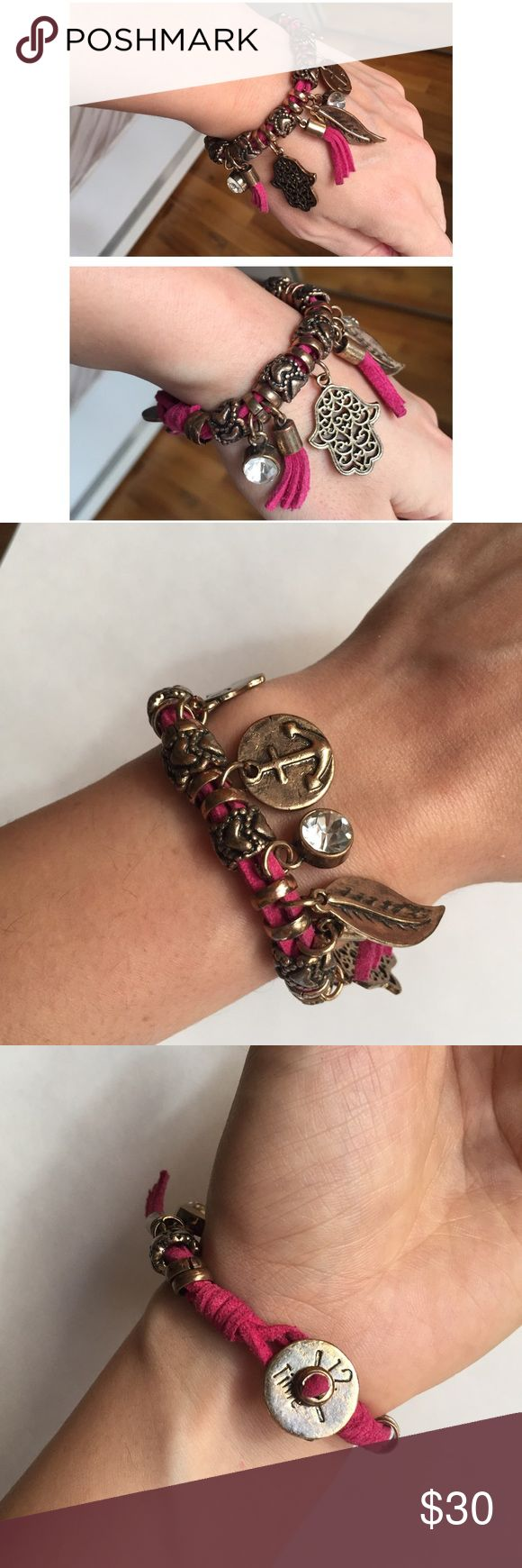 "30% OFF BUNDLES Leather Rose Gold Charm Bracelet Perfect charm bracelet! It's super fun and loaded with gold colored good luck charms and two large crystals. Total Length:7"" All measurements are taken with the item laid flat.  Excellent Used Condition Color: Pink Leather with rose gold charms 30% off on bundles. I ship same-day from pet/smoke-free home. Buy with confidence. I am a top seller with over 500 5-star ratings and A LOT of love notes. Check them out! 😊😎 Jewelry Bracelets"