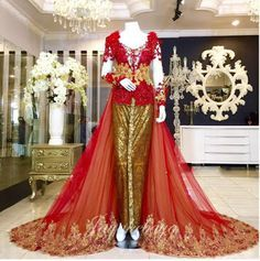 Wedding Kebaya Dress Red 2016.Indonensia Kebaya Modern dress.