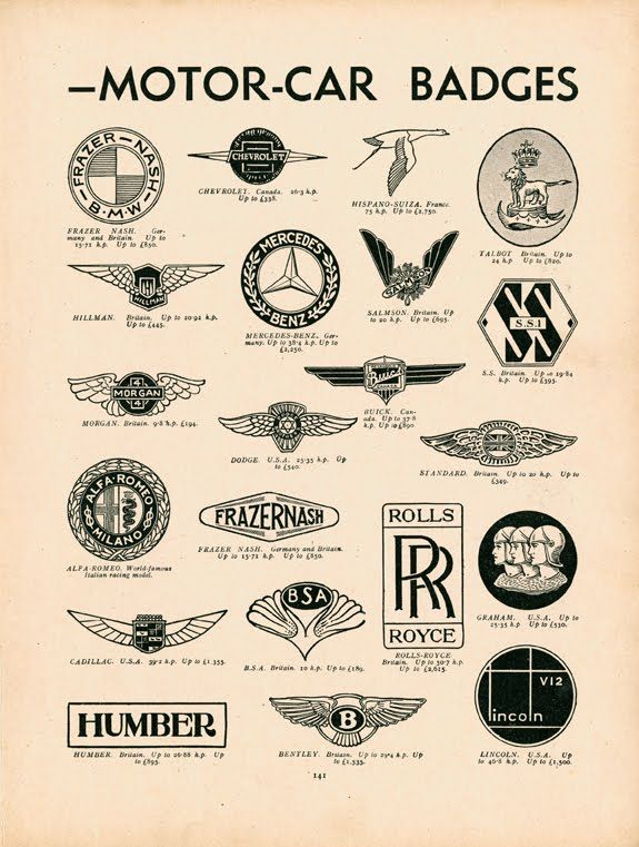 Vintage infographic / visualization, A quick guide to motor-car badges (c1937)   Modern Boys Book of Hobbies
