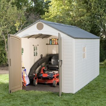 Poor Dan so needs to live in the country with a barn!  Costco: Lifetime Brighton 8' x 15' Storage Shed