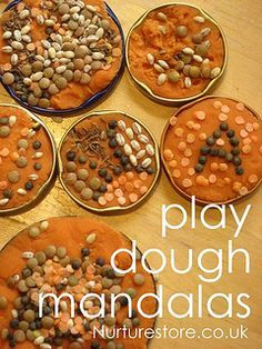 {Play Dough Challenge} We combined lots of added textures and smells to make these Play Dough Rangoli Mandalas.