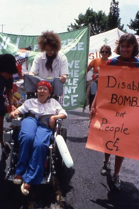 Differently Abled protester @ Seneca Peace Camp. Bring it.    http://peacecampherstory.blogspot.com/