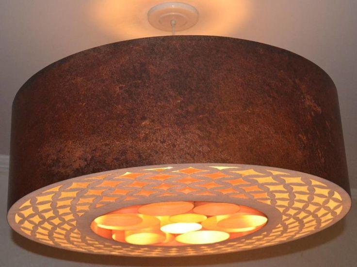 Pendentes de teto,confeccionados com fórmica,papel resinado,folha de madeira,com suporte para 3 lâmpadas e 1,5 metro de fio PP cristal +tapa furo branco de teto.