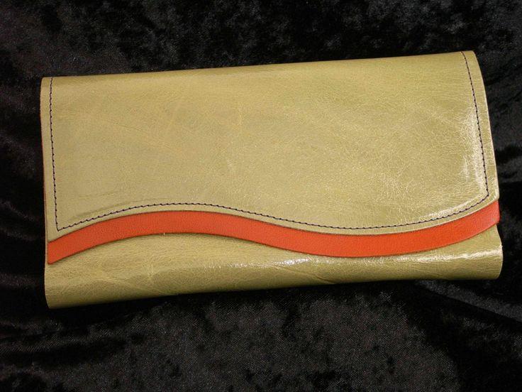 Green soft leather with Orange trim