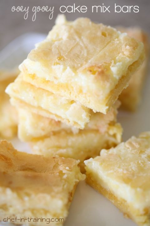 Ooey Gooey Cake Mix Bars from chef-in-training.com …These are so simple to make and are absolutely delicious!