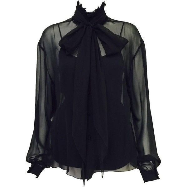 Preowned New Chanel Spring 2001 Black Sheer Silk Blouse With Knit... ($975) ❤ liked on Polyvore featuring tops, blouses, black, sheer ruffle blouse, sheer silk blouse, ruffle blouse, tie blouse and sheer top