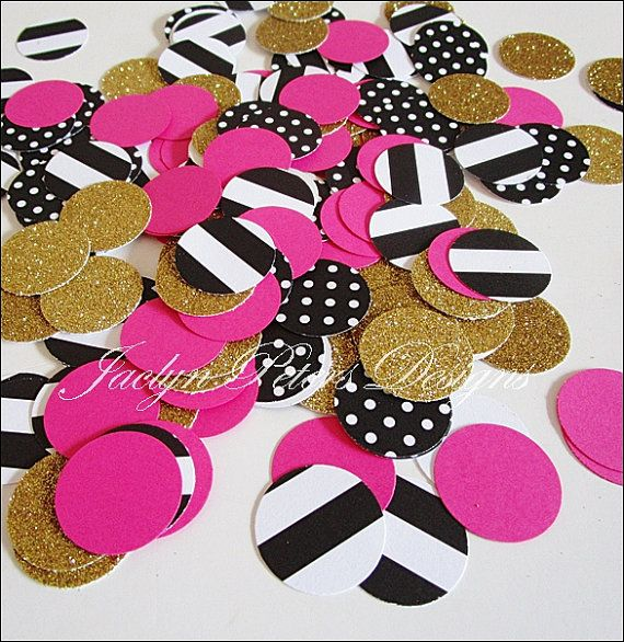 Black, Gold Glitter & Hot Pink party confetti would look perfect sprinkled on tables
