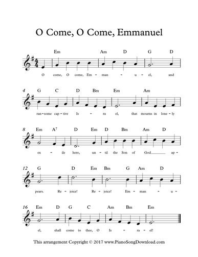 O Come O Come Emmanuel, free lead sheet for Advent and Christmas ...