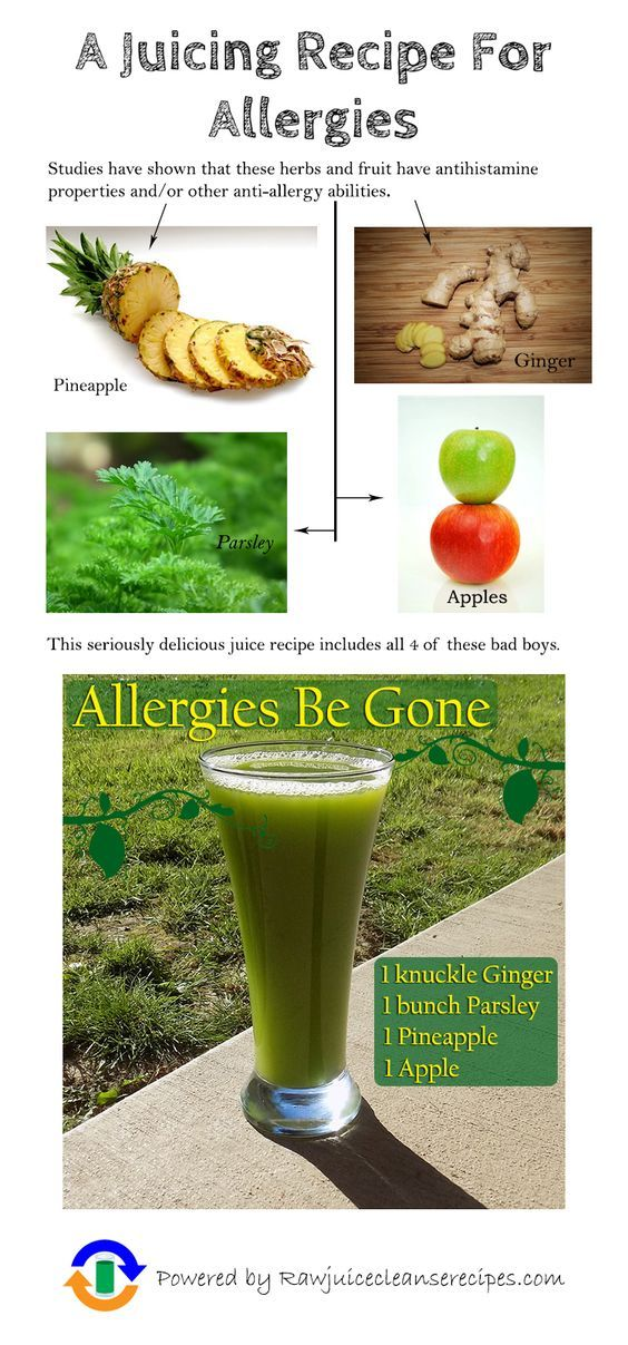A Juicing Recipe For Allergies: Studies have shown that pineapple, ginger, parsley, and apples all contain either antihistamine properties or anti-allergy abilities or both. This juice recipe for allergy relief contains all of these! :)