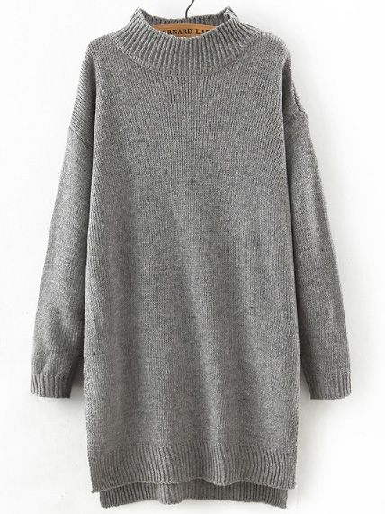 Robe pull trapèze col montant -gris-French SheIn(Sheinside)