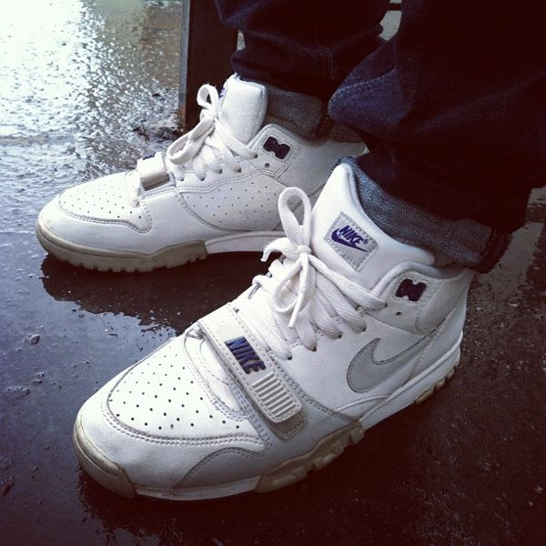 competitive price d5d2a 85d6a nike-air-trainer-1-mid-white-grey-hakmiller  Nikes  Pinterest  Nike,  Sneakers and Nike air
