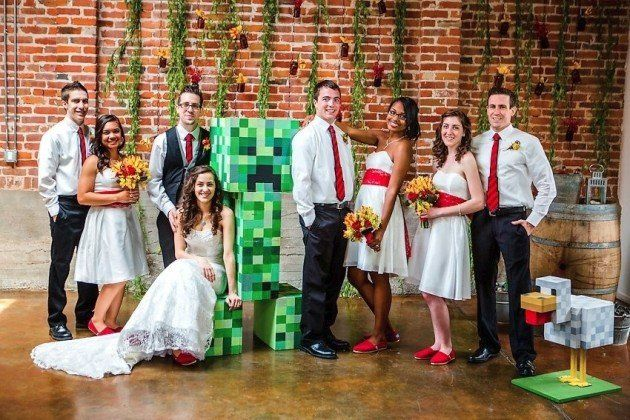 Minecraft-themed wedding.  But what I really love are the bride & bridesmaids' shoes--so cute!!