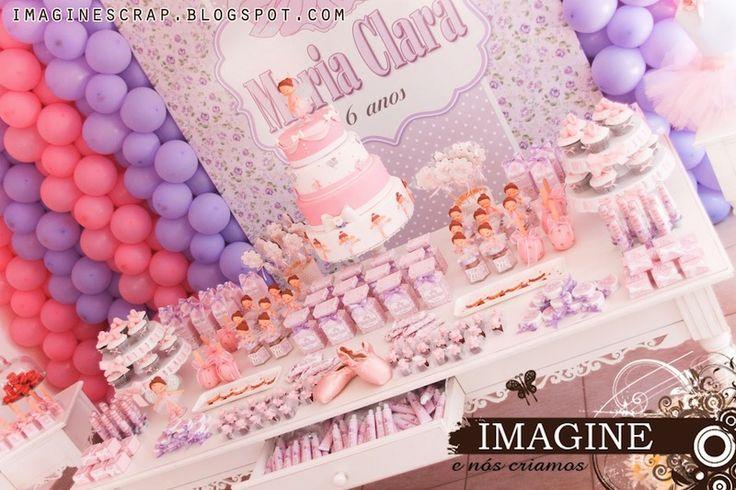 Festa infantil bailarina, com rosa e lilás.