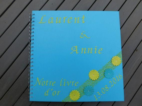 Livre d'or vert anis et bleu turquoise www.lababyshowerdemaman.fr
