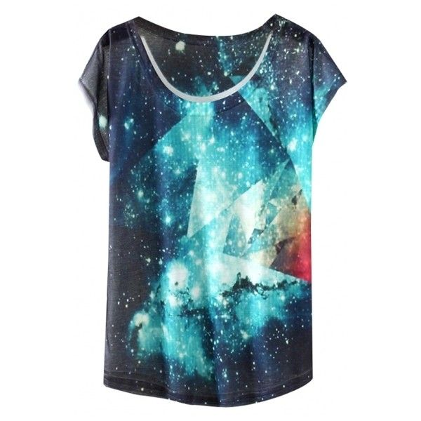 Cloud Galaxy Rain Painting T-Shirt with Round Neck (181.645 VND) ❤ liked on Polyvore featuring tops, t-shirts, blue top, planet tees, blue t shirt, galaxy tee e round neck top