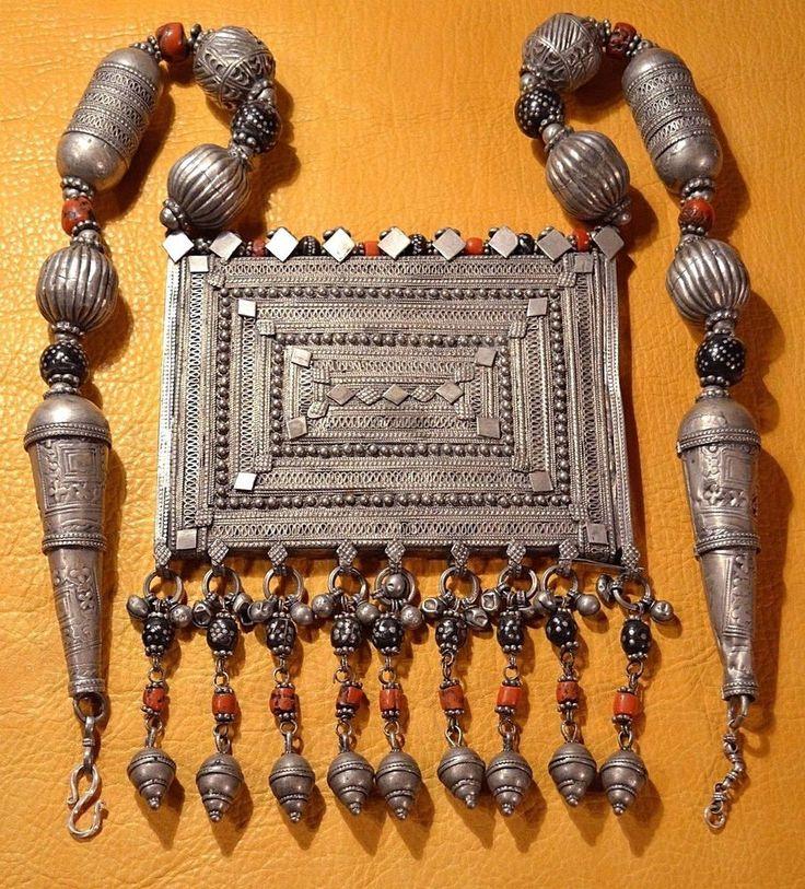 Huge Antique Yemen Bedouin Ethnic Silver Prayer Box W Dangles, Wedding Necklace #JewishMetalsmithsInYemen