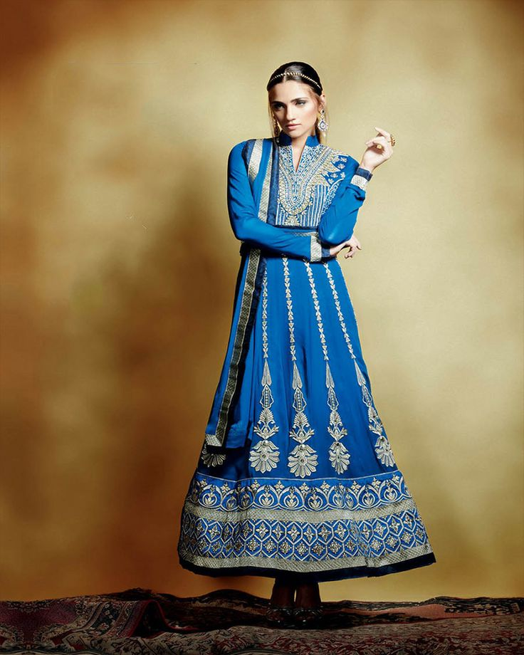 Royel ink blue suit in fiowy georgette fabric,delicate and geometric embroidery work in silver zari and thread.