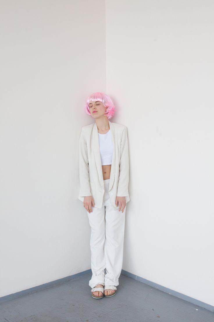 Project: Candy  hair: Kateřina Muratová styling: Alice Reindlová photo: Valentýna Janů model: Marie Tučková, Nikola Čablová  #fashion #editorial #candy #projecttraining #bw #blackandwhite #blue #pink #head #falsie #wig #chemistrygallery