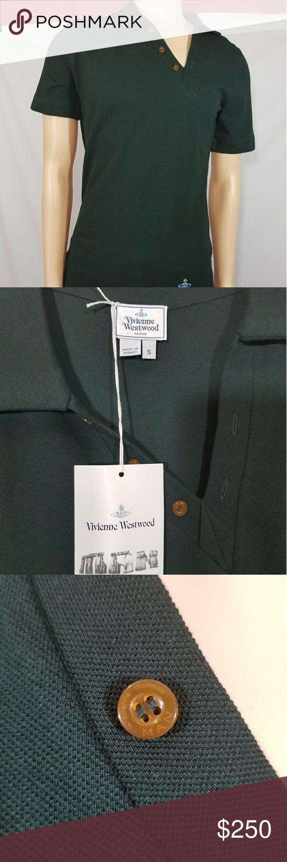 Men's Vivienne Westwood polo Men's Vivienne Westwood polo, dark green, size S, diagonal cut at neckline and across the bottom hem, NWT. Vivienne Westwood Shirts Polos