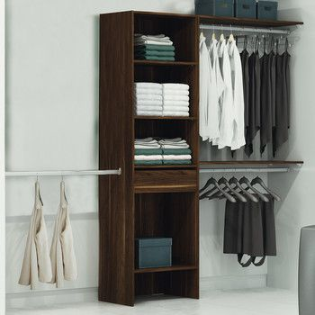 cheap affordable kit placard bois fonc x x h cm uac avec un with kit dressing avec rideau with. Black Bedroom Furniture Sets. Home Design Ideas