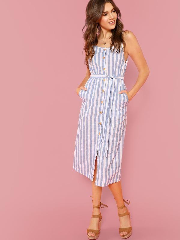 f11040565202b Button Front Vertical Stripe Cami Dress -SheIn(Sheinside) | stripe ...