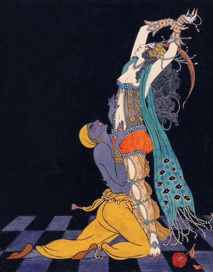 George Barbier, Vaslav Nijinsky and Ida Rubinstein in Scheherazade, Paris, 1910. Schéhérazade is a ballet in one act with choreography by Michael Fokine, libretto by Benois, music by Rimsky-Korsakov and design by Leon Bakst. Premiered 4 June 1910 by...