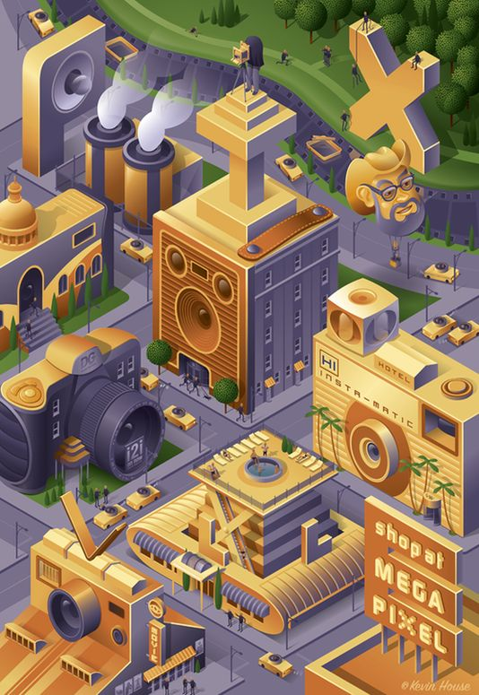 Illustration Isometric - Pixville by Kevin House, via Behance