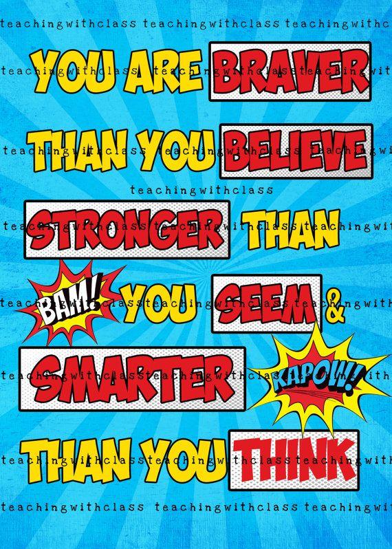 Superhero Classroom Poster Braver than you by TeachingwithClass