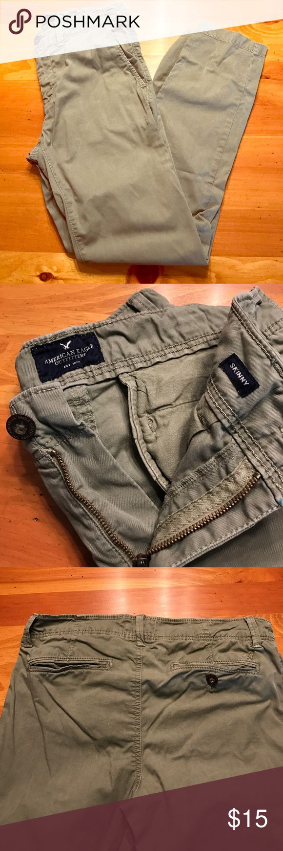 American Eagle chinos American Eagle light olive skinny Chino. 98% Cotton 2% Elastane. Only worn a few times. In excellent condition. American Eagle Outfitters Pants Chinos & Khakis