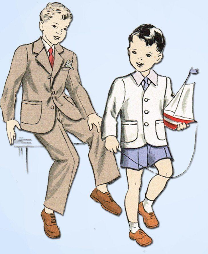 1940s Vintage Butterick Sewing Pattern 4639 Toddler Boys Suit Jacket Slacks Sz 4