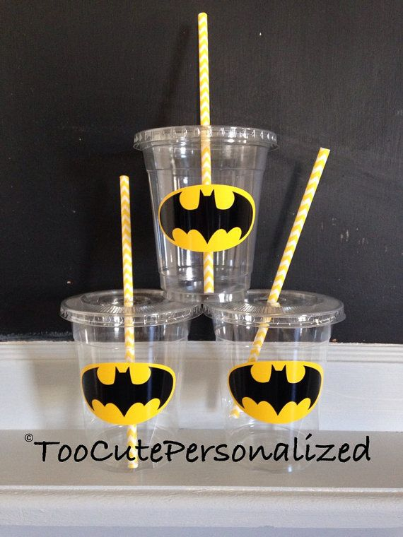 25 Plastic Batman Party Cups-12 oz by TooCutePersonalized on Etsy