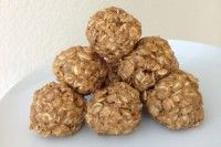 4 Ingredient, No-Bake, Oatmeal Peanut Butter Protein Balls. All-natural peanut butter, certified gluten free dry oats, flax seed and a little honey.