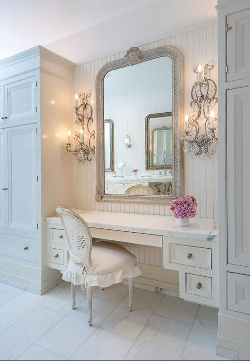 Vanity located in bathroom. Leaves the bedroom with more space