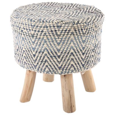 Krukje Portabella Ø40 x 40 cm blauw + creme #Casabella #Wonen #Kruk #Furniture