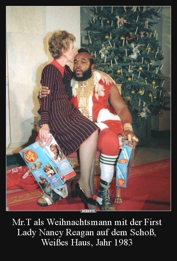 Mr.T als Weihnachtsmann mit der First Lady Nancy Reagan.. | Lustige Bilder, Sprüche, Witze, echt lustig