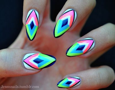These neon Aztec nails are looking awesome and fun!