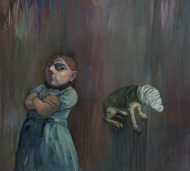 See No Evil, Hear No Evil, Speak No Evil 2012 oil on linen 100 x 100 cm