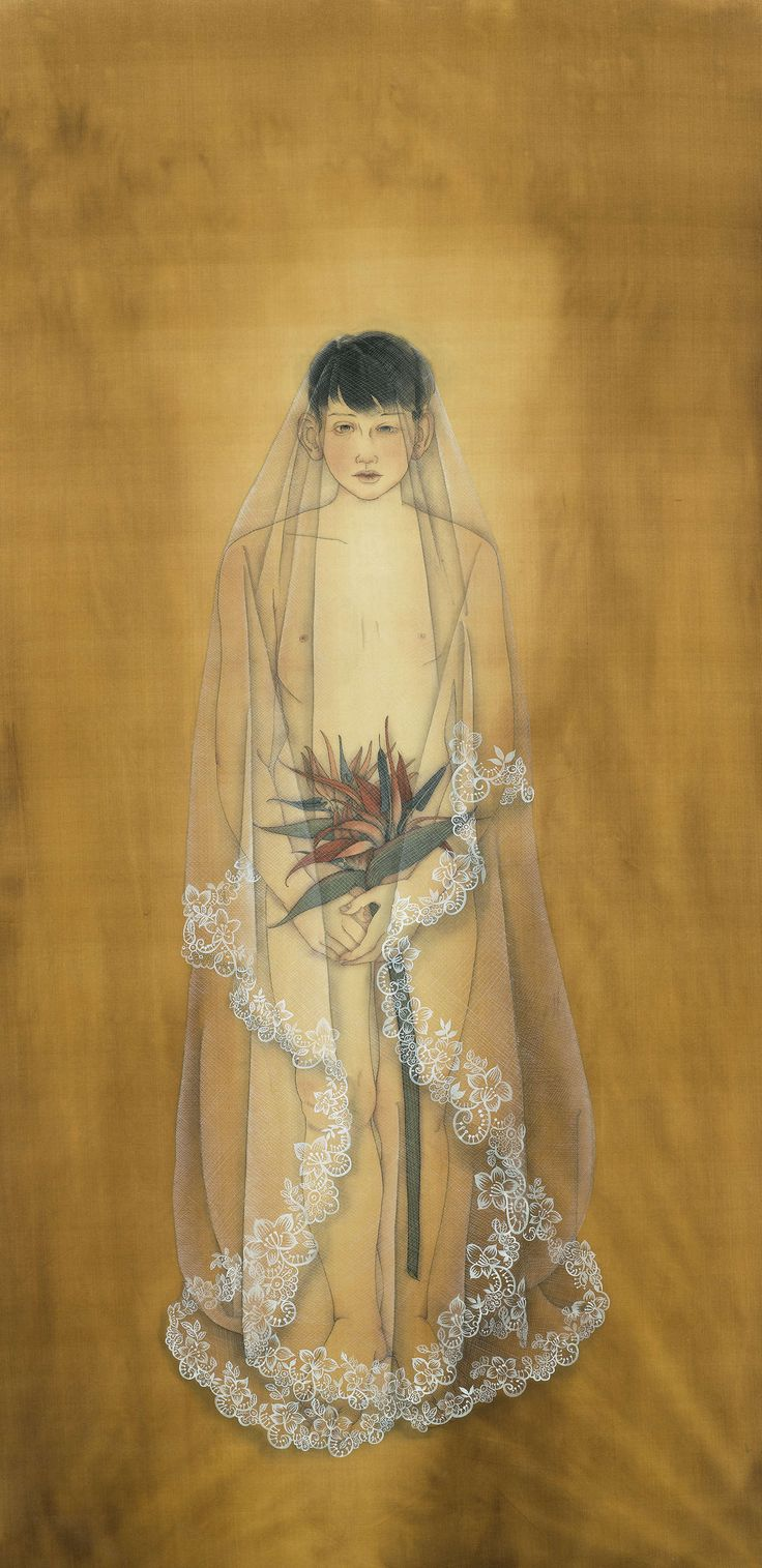 Conceal (2013) by Wong Xiang Yi; Ink on Chinese silk; 172 x 88cm; Artify Gallery